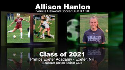 Allison Hanlon Soccer Recruitment Video – Vs. Oakwood Soccer Club